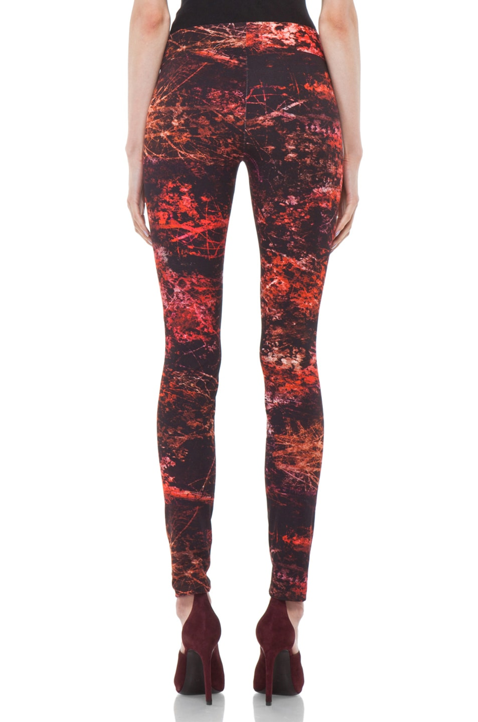Image 4 of Helmut Lang Midnight Floral Reflex Legging in Red Multi