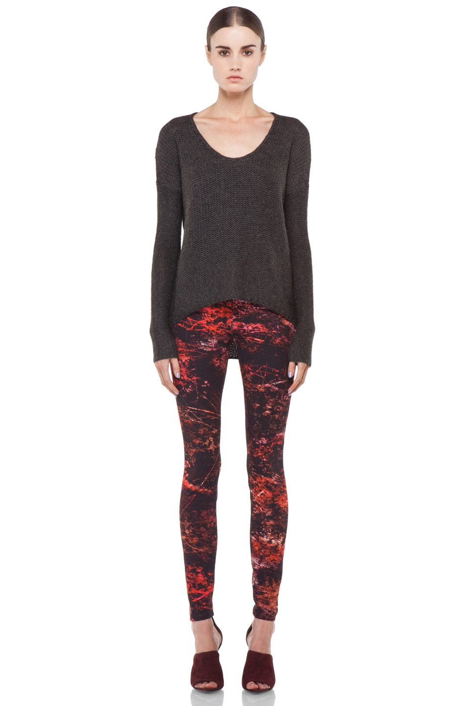 Image 5 of Helmut Lang Midnight Floral Reflex Legging in Red Multi
