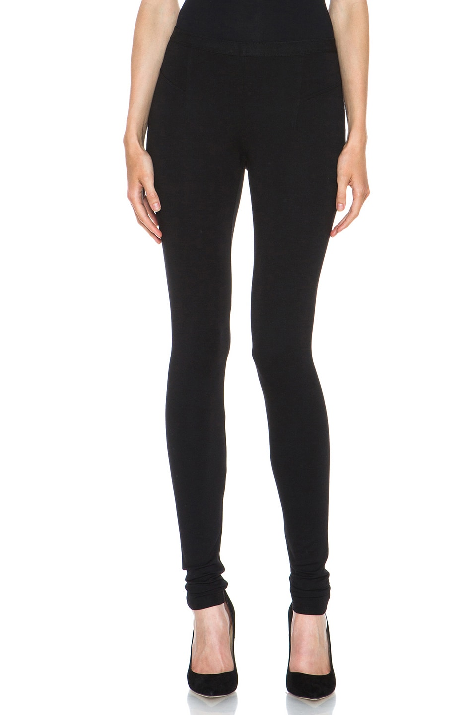 Image 1 of HELMUT Helmut Lang Hammer Ponte Viscose-Blend Legging in Black
