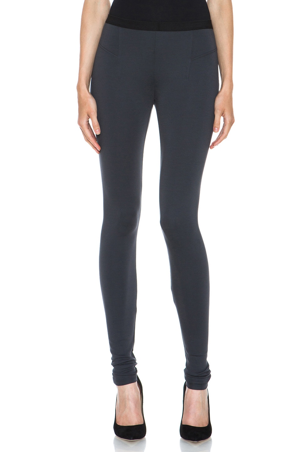 Image 1 of HELMUT Helmut Lang Ponte Viscose-Blend Legging in Gun Powder