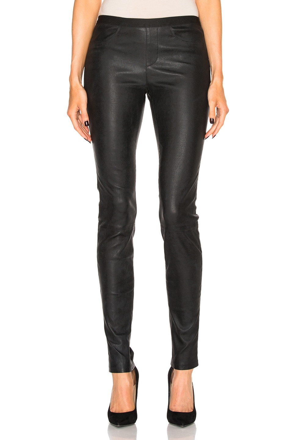 Image 1 of Helmut Lang Leather Legging in Black