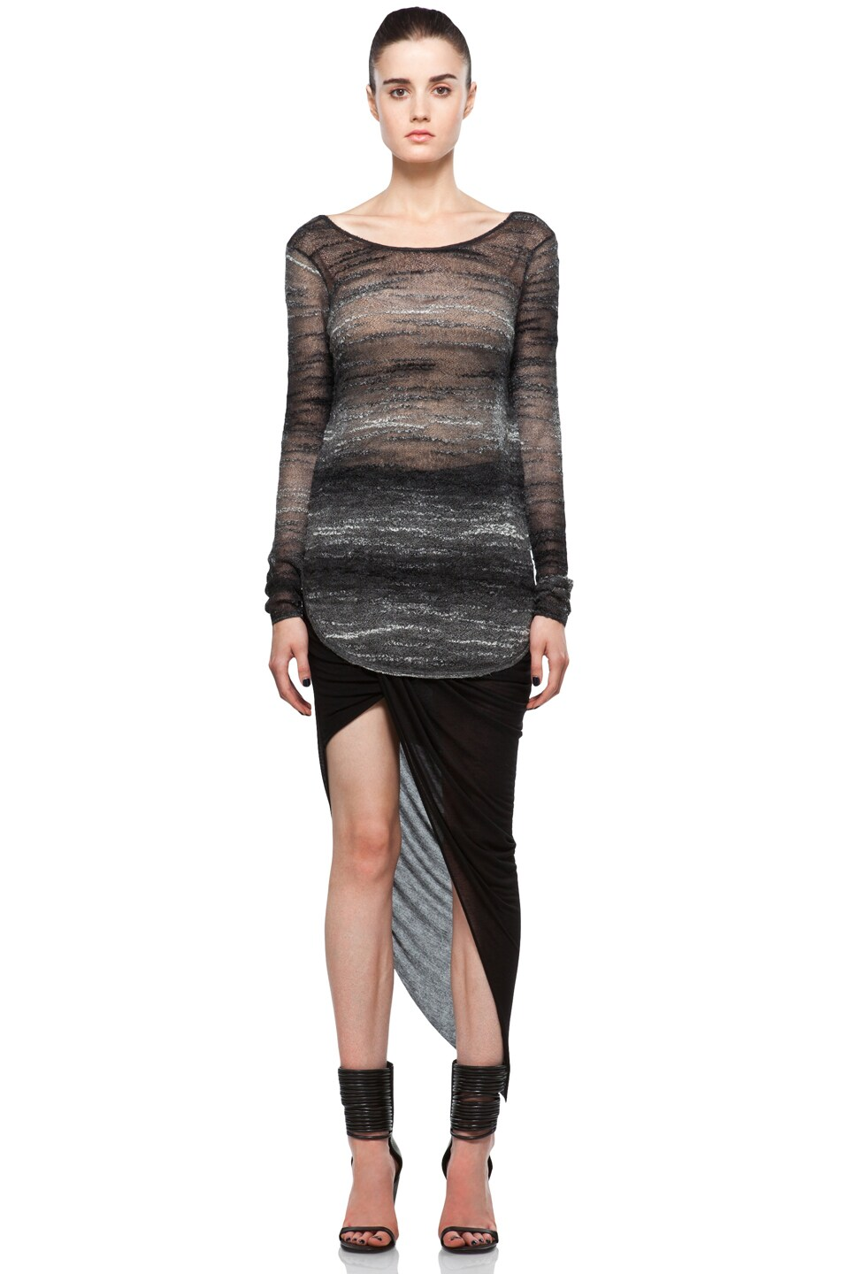 Image 5 of Helmut Lang Asymmetrical Skirt in Black