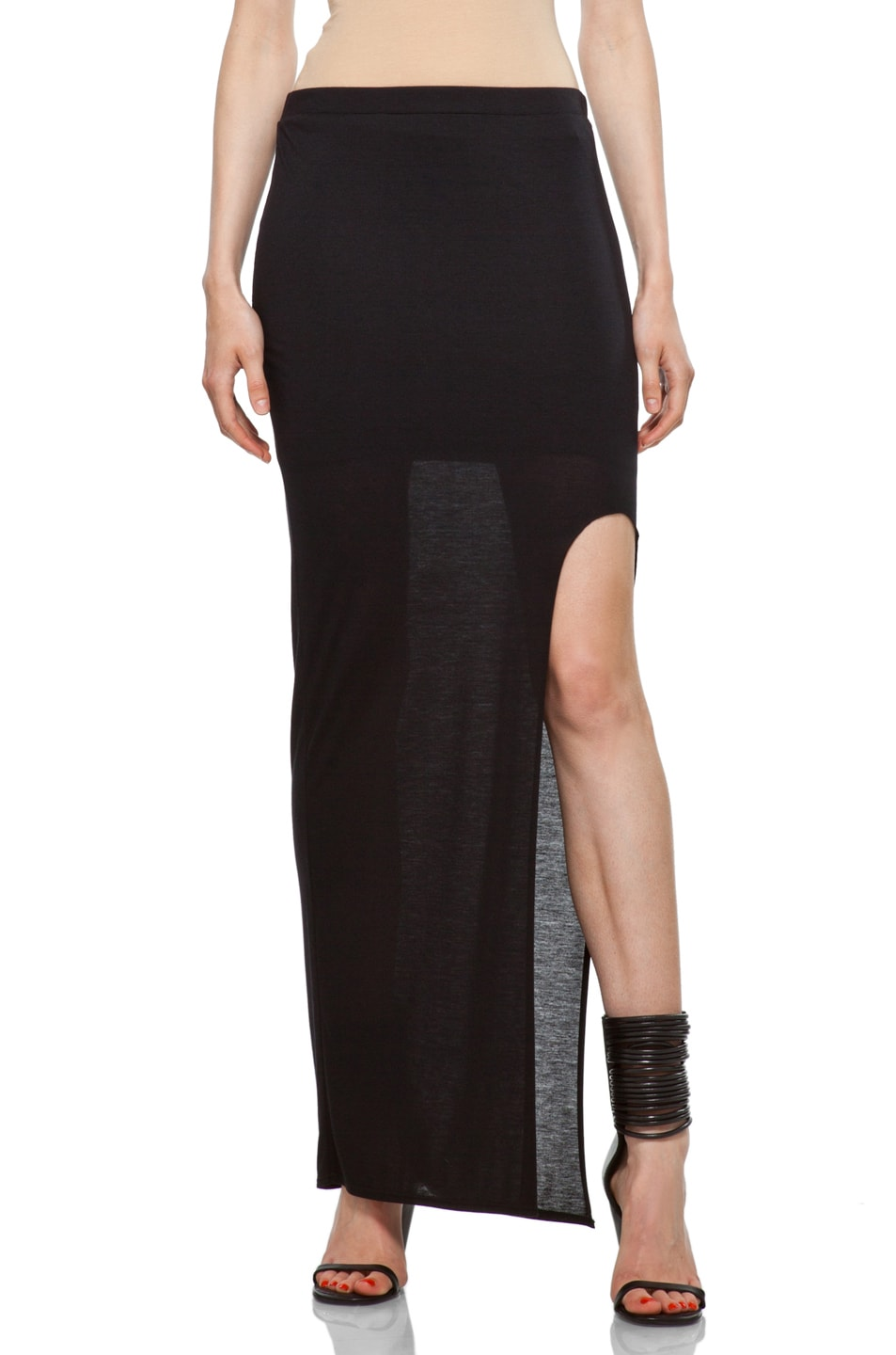 Image 1 of HELMUT High Slit Skirt in Black
