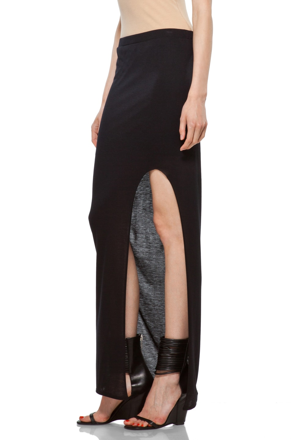 Image 2 of HELMUT High Slit Skirt in Black