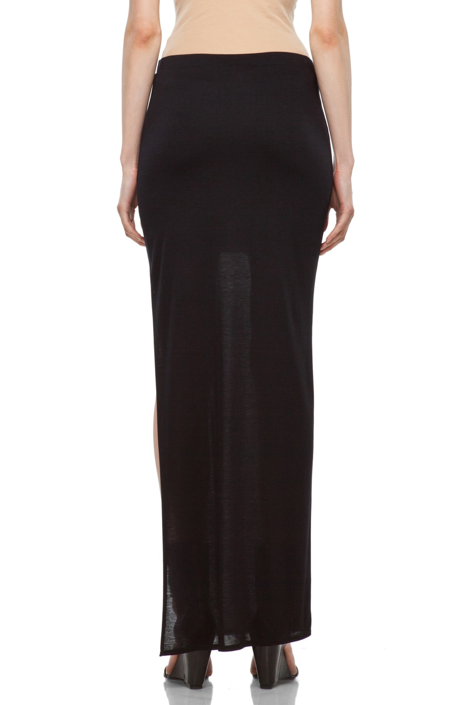 Image 4 of HELMUT High Slit Skirt in Black