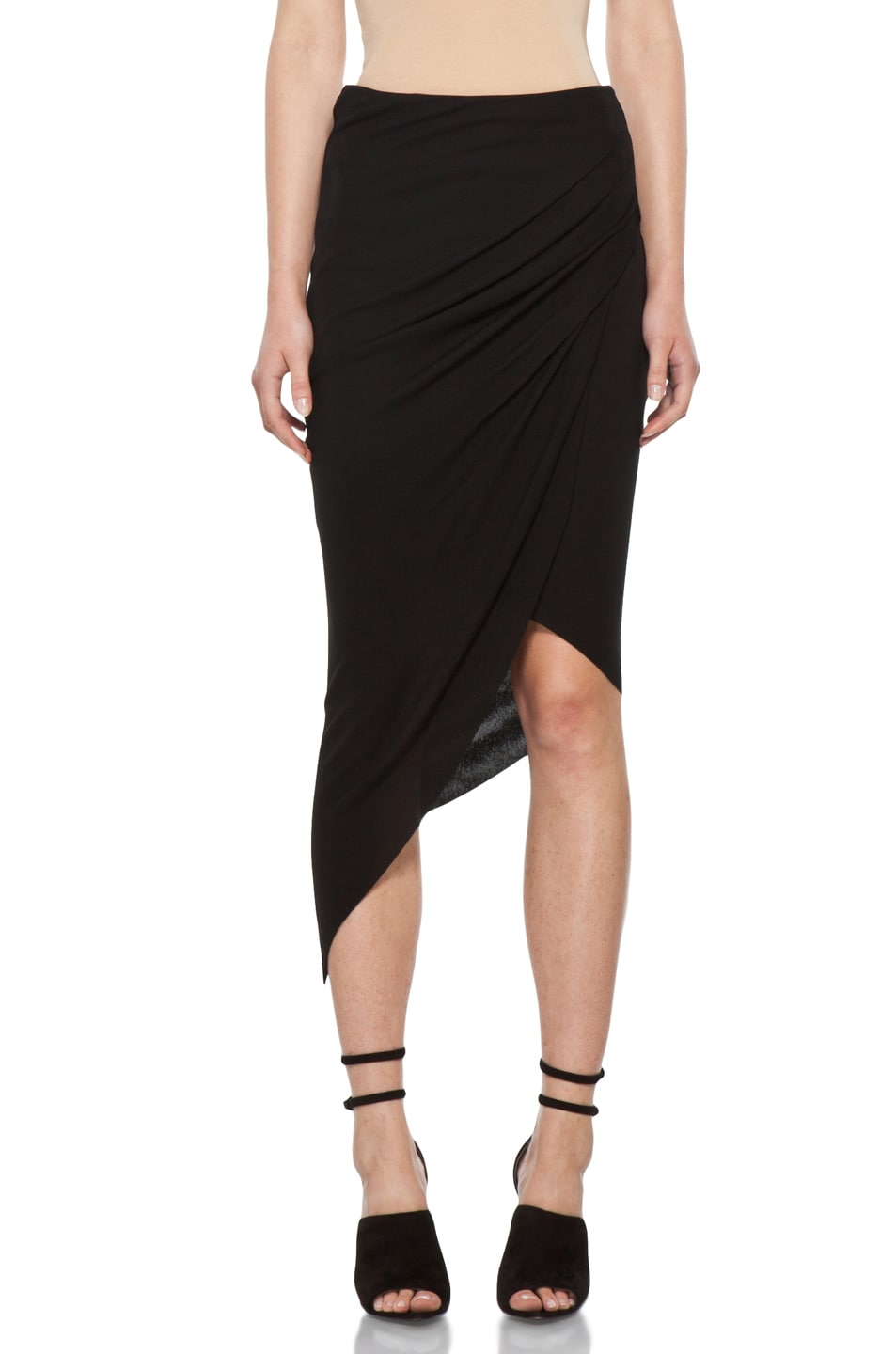 Image 1 of Helmut Lang Helix Asymmetrical Skirt in Black