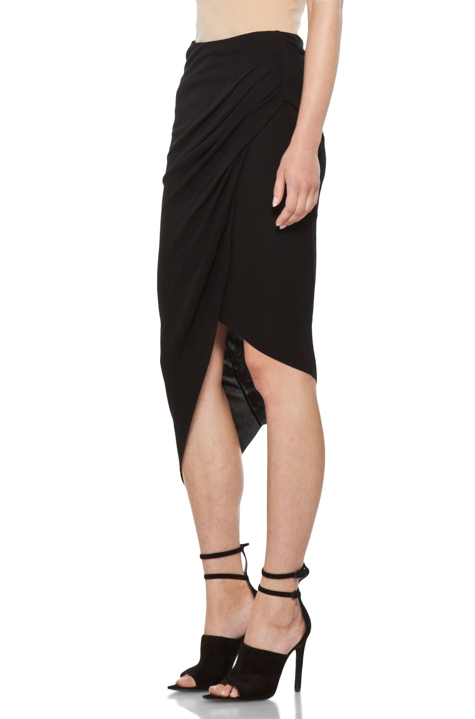 Image 2 of Helmut Lang Helix Asymmetrical Skirt in Black