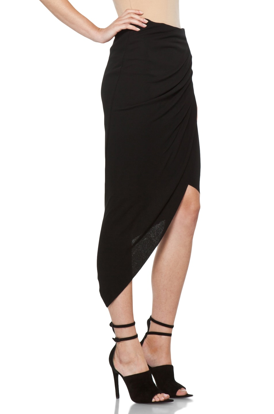 Image 3 of Helmut Lang Helix Asymmetrical Skirt in Black