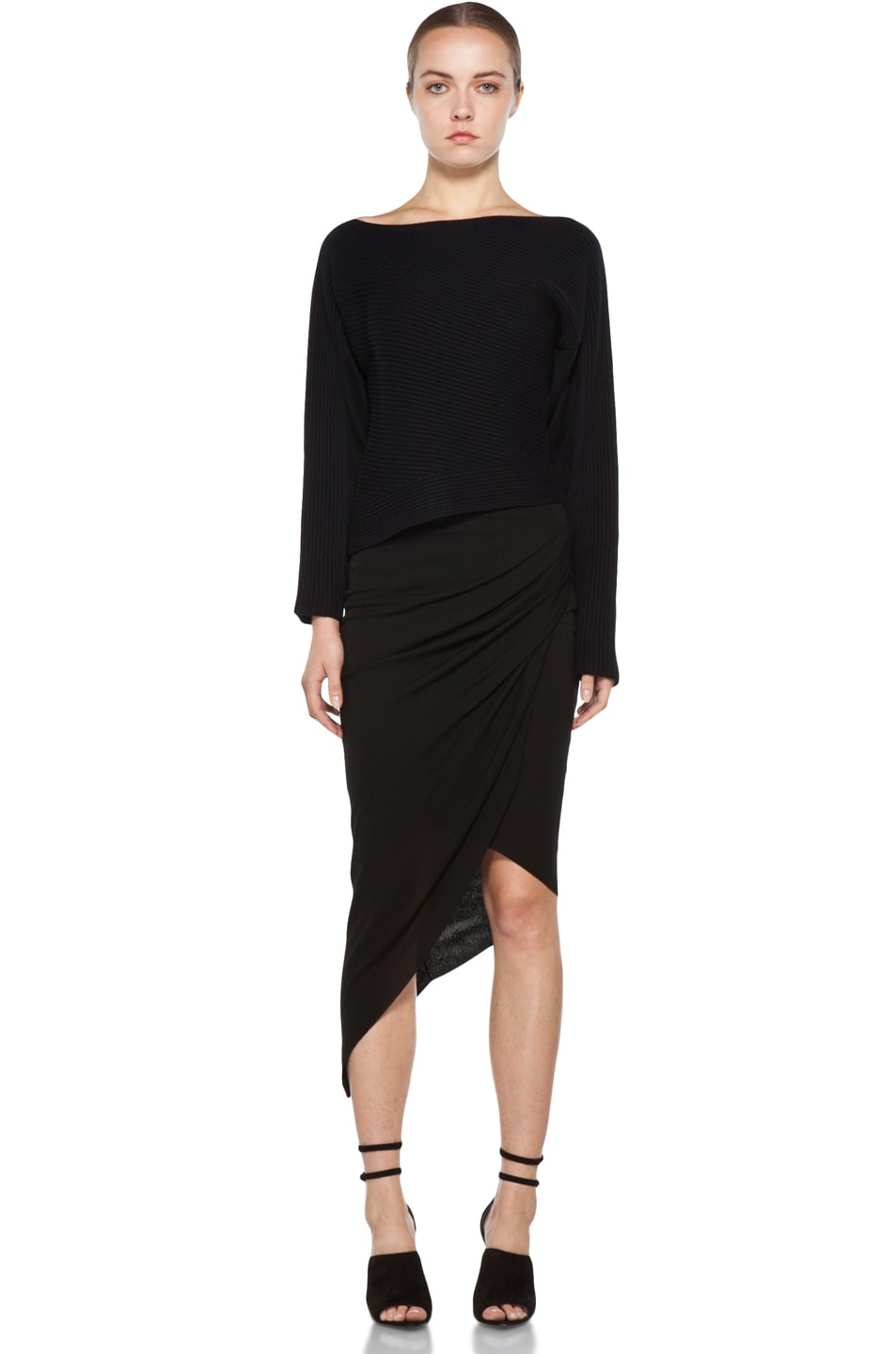 Image 5 of Helmut Lang Helix Asymmetrical Skirt in Black