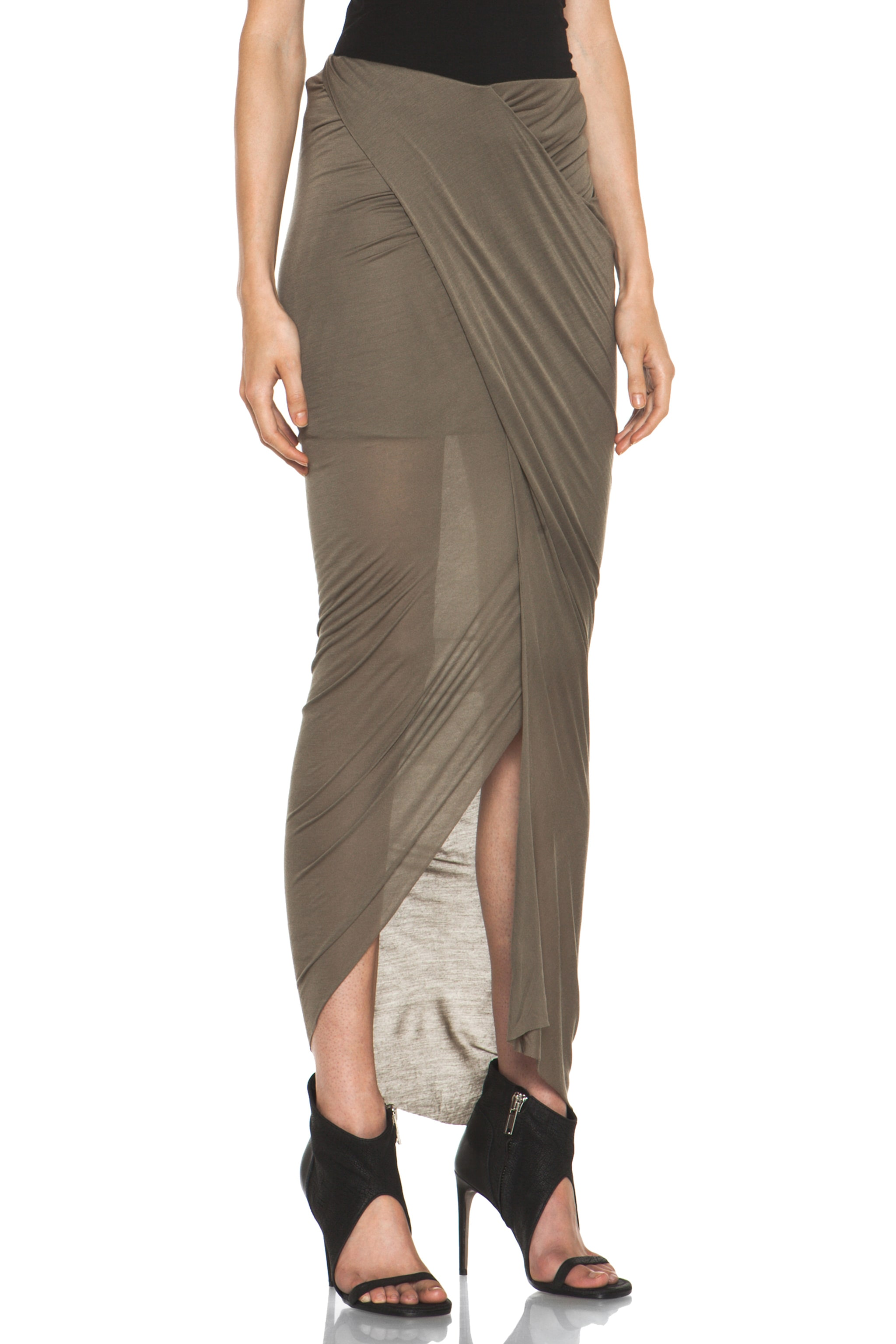 Image 3 of Helmut Lang Slack Jersey Wrap Skirt in Lint