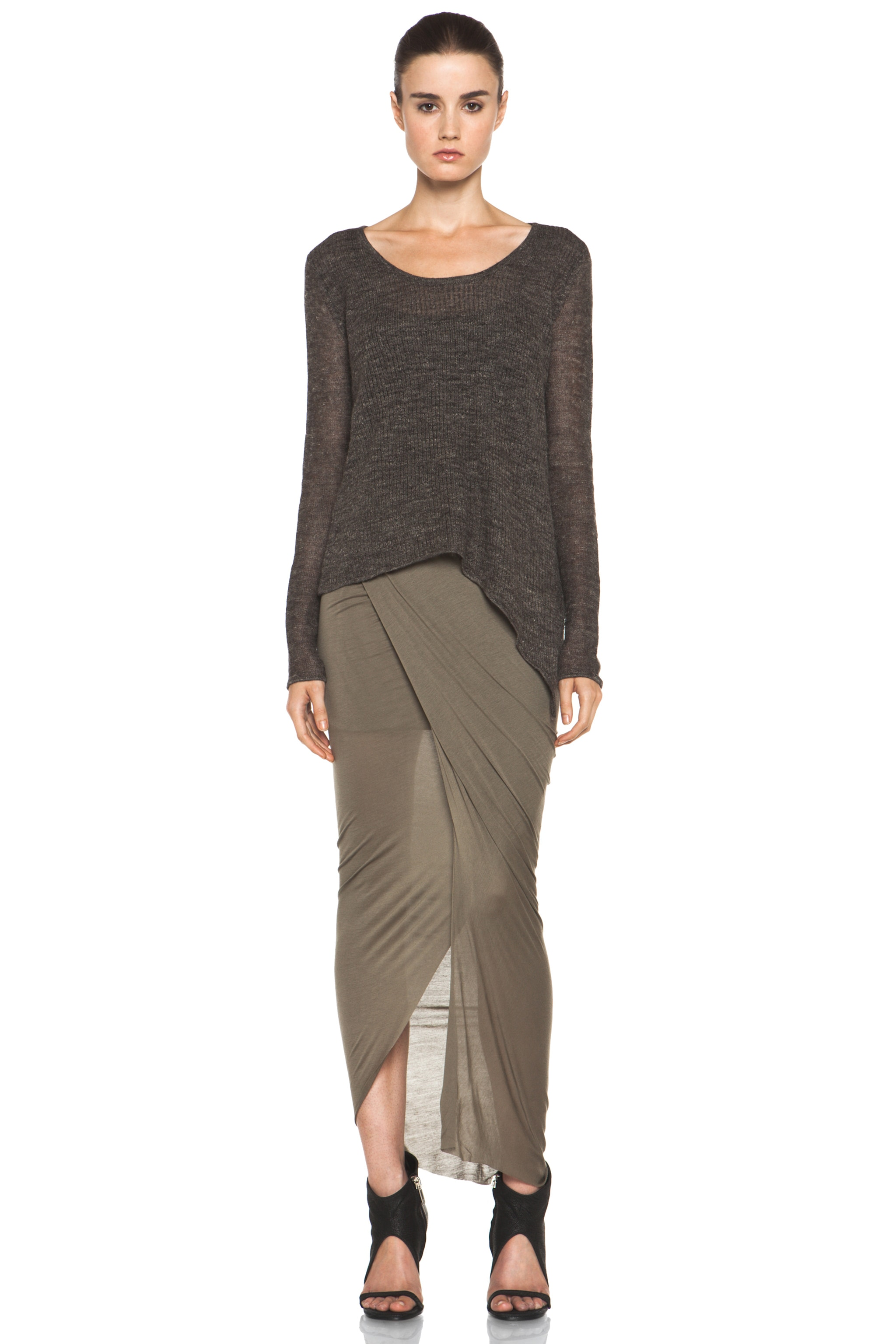 Image 5 of Helmut Lang Slack Jersey Wrap Skirt in Lint