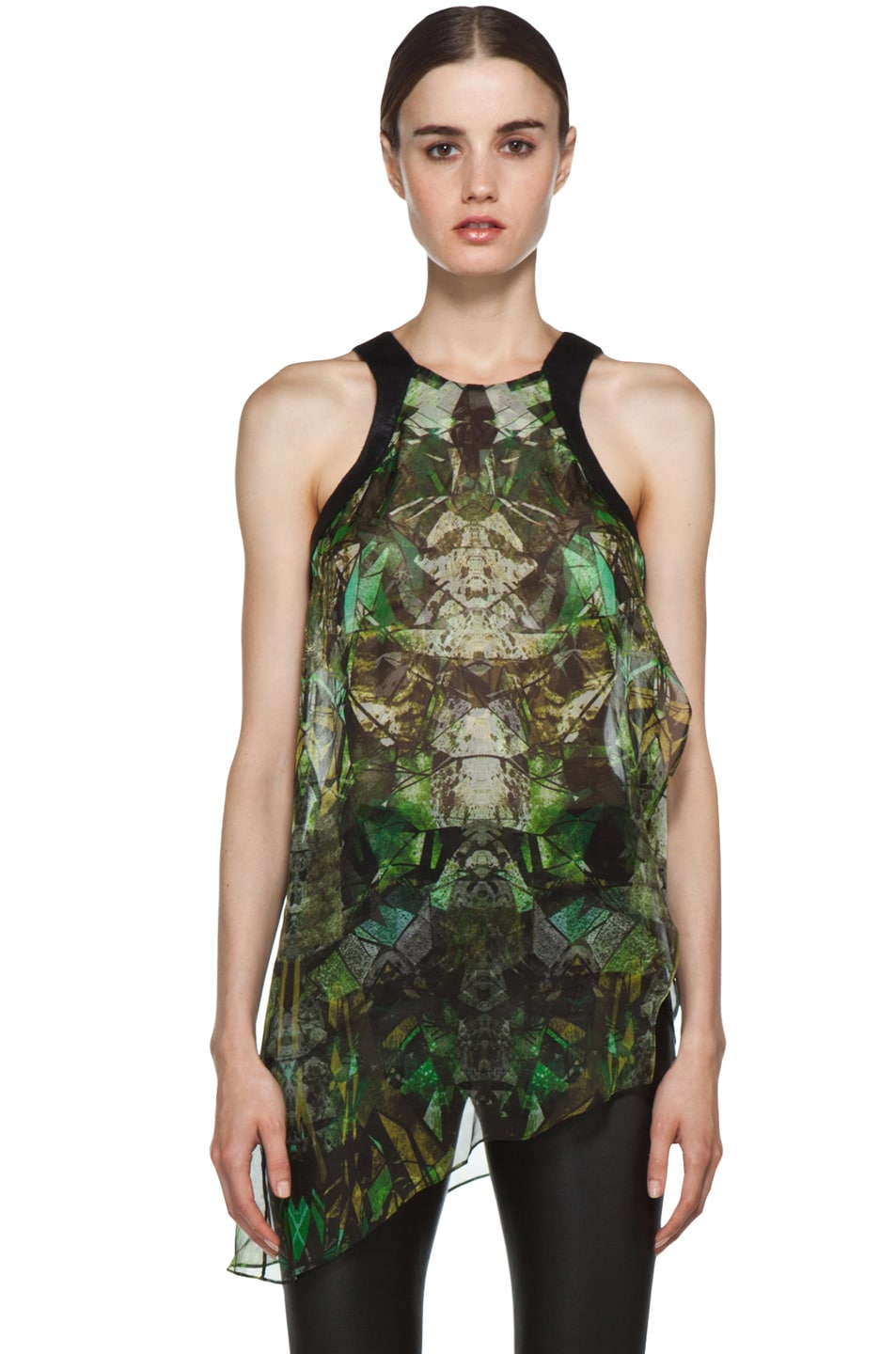 Image 1 of Helmut Lang Sheer Printed Top in Green
