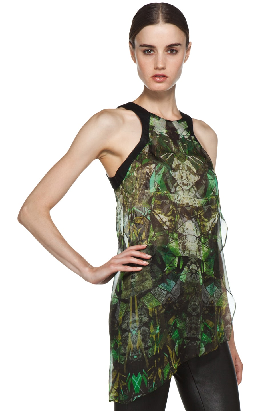Image 3 of Helmut Lang Sheer Printed Top in Green