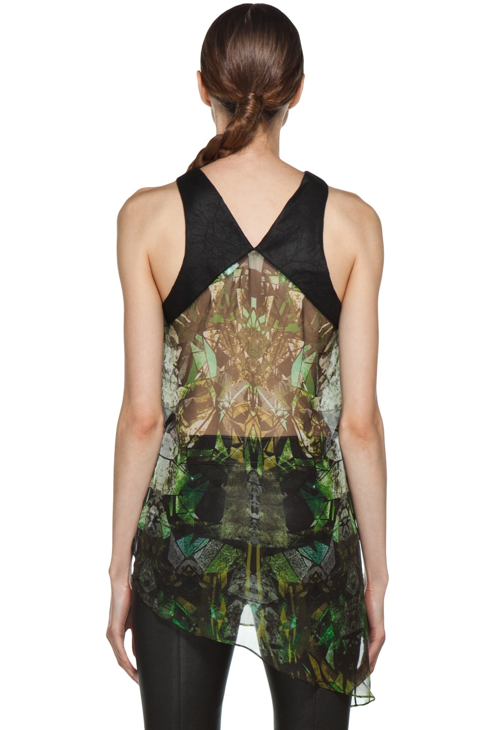 Image 4 of Helmut Lang Sheer Printed Top in Green