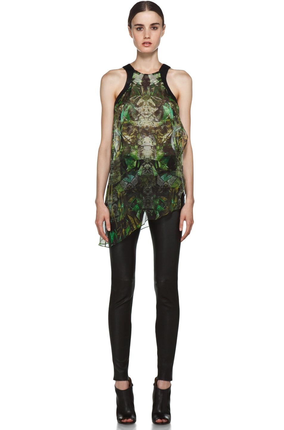 Image 5 of Helmut Lang Sheer Printed Top in Green