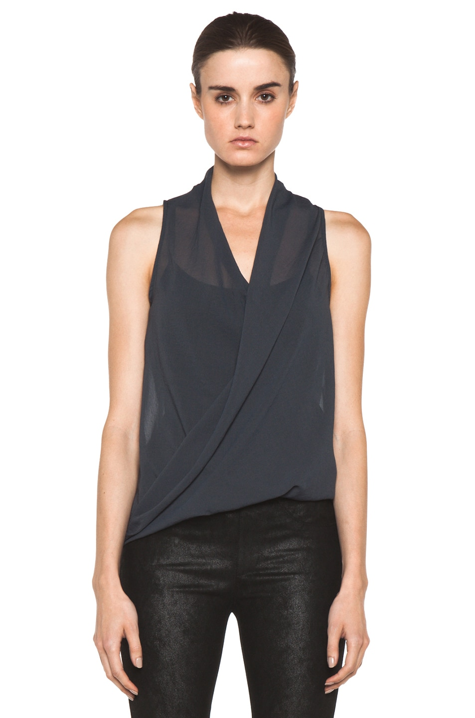 Image 1 of Helmut Lang Lyra Folded Drape Top in Dusty Sapphire