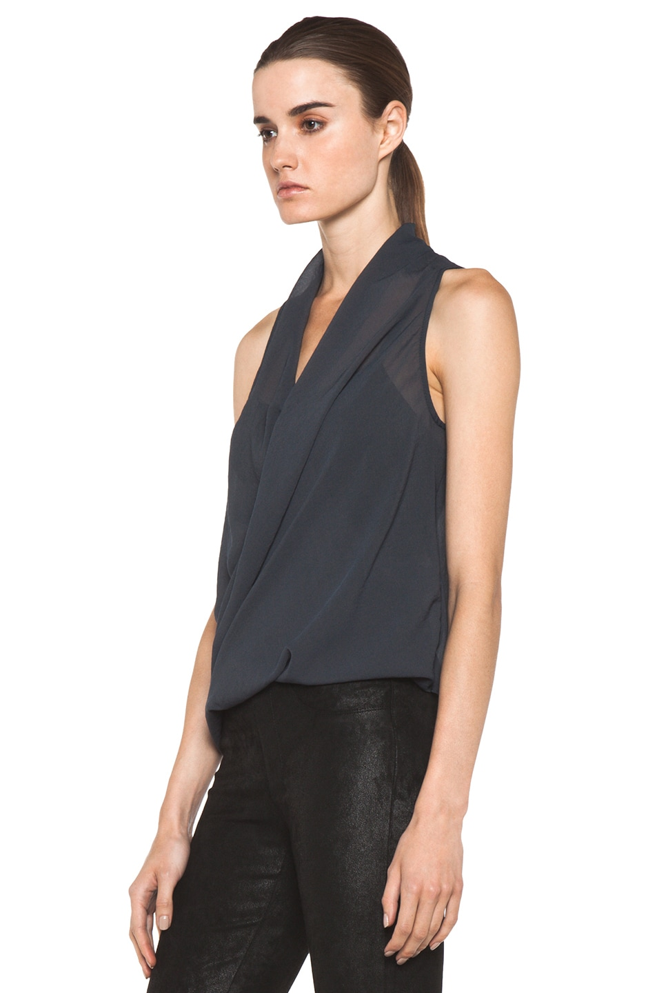 Image 2 of Helmut Lang Lyra Folded Drape Top in Dusty Sapphire