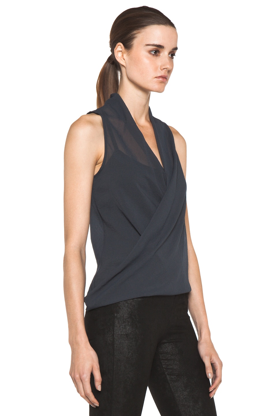 Image 3 of Helmut Lang Lyra Folded Drape Top in Dusty Sapphire