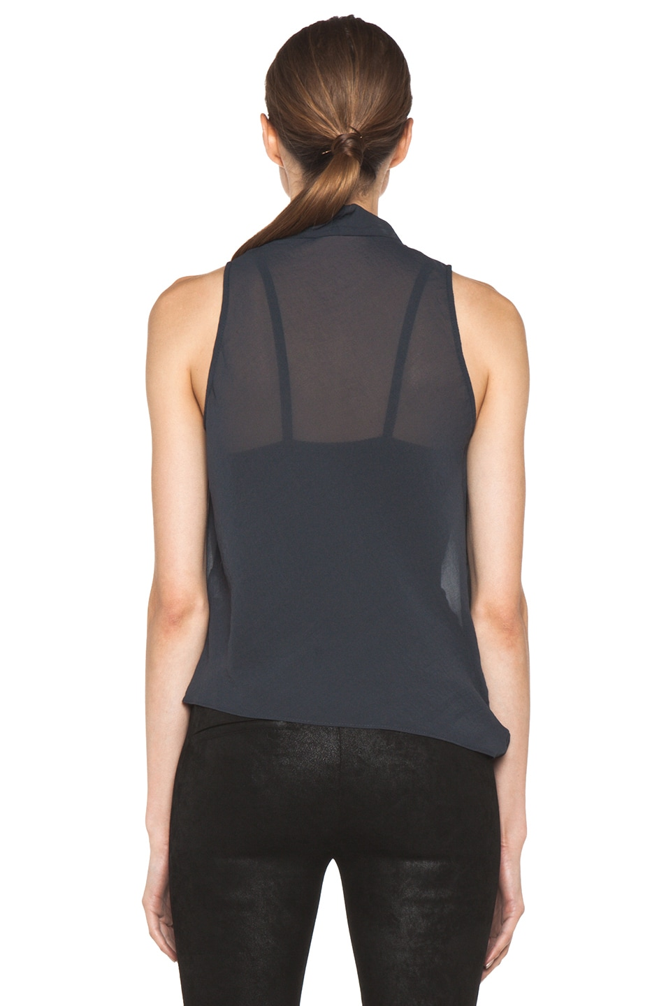 Image 4 of Helmut Lang Lyra Folded Drape Top in Dusty Sapphire