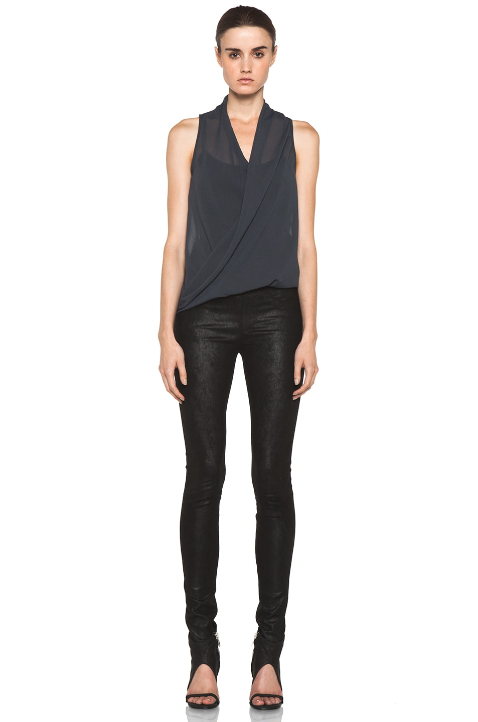 Image 5 of Helmut Lang Lyra Folded Drape Top in Dusty Sapphire