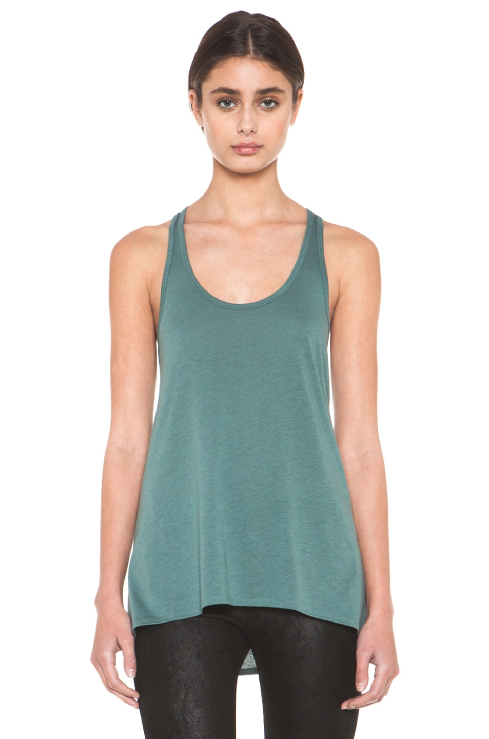 Image 1 of HELMUT Feather Jersey Racerback Tank in Pacific