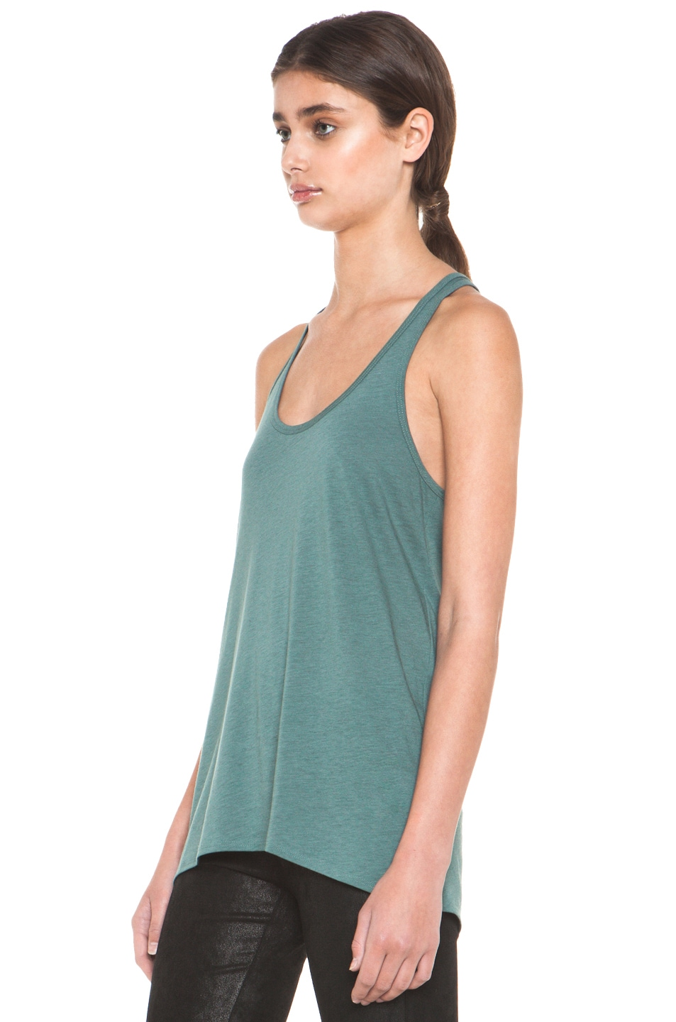 Image 2 of HELMUT Feather Jersey Racerback Tank in Pacific