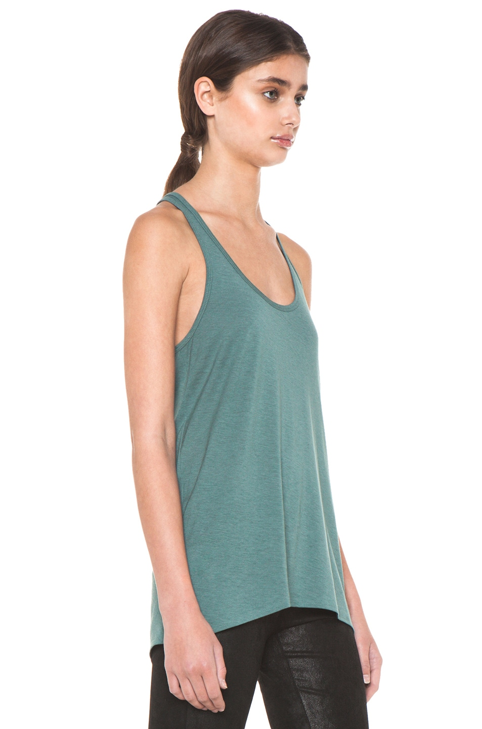 Image 3 of HELMUT Feather Jersey Racerback Tank in Pacific