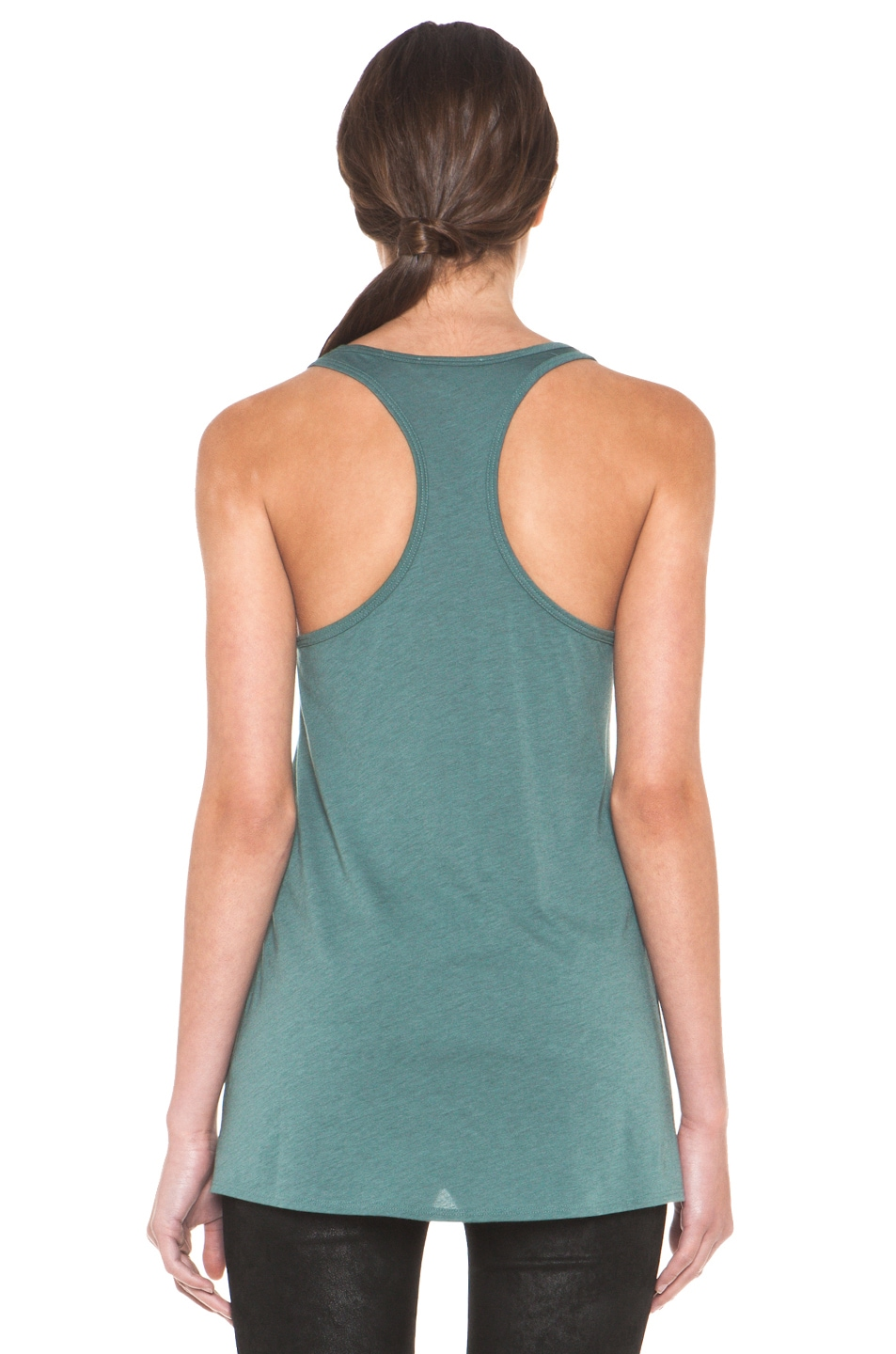 Image 4 of HELMUT Feather Jersey Racerback Tank in Pacific