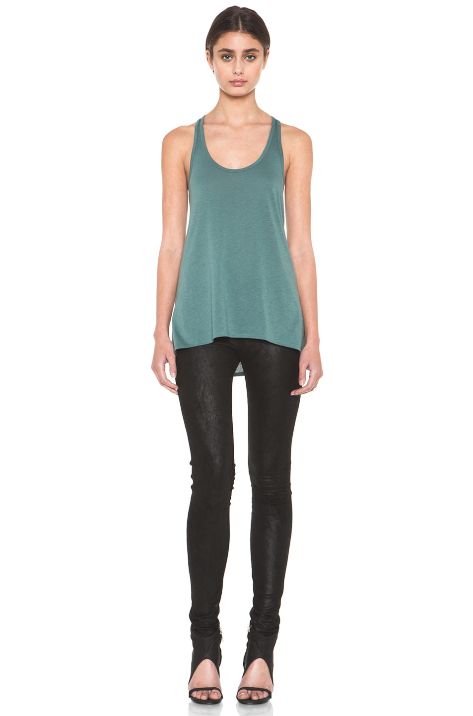 Image 5 of HELMUT Feather Jersey Racerback Tank in Pacific