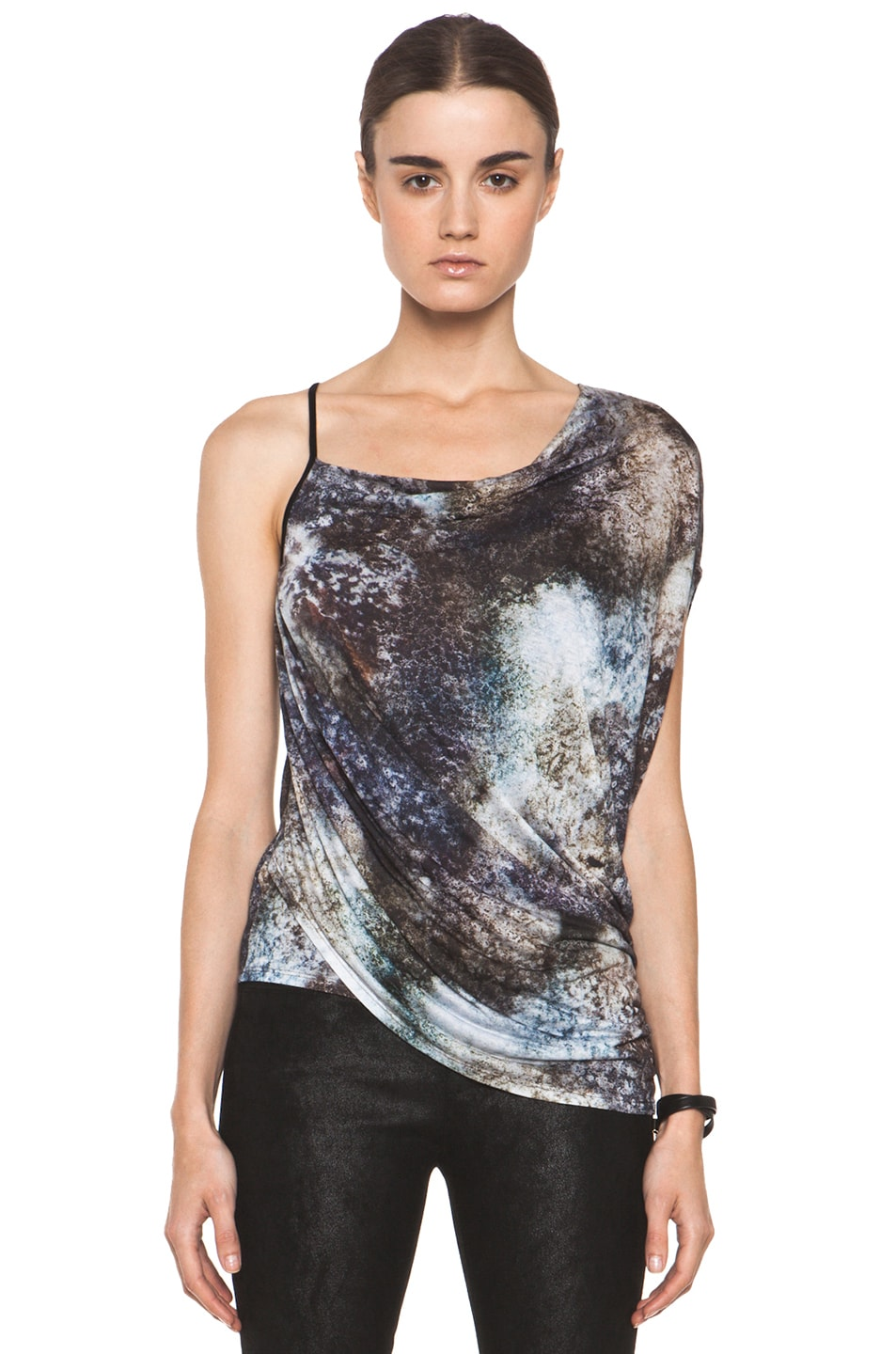 Image 1 of Helmut Lang Oxide Print Star Top in Bruise Multi