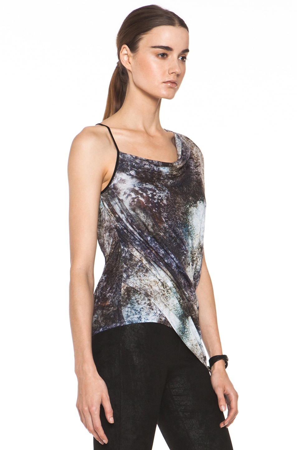 Image 3 of Helmut Lang Oxide Print Star Top in Bruise Multi