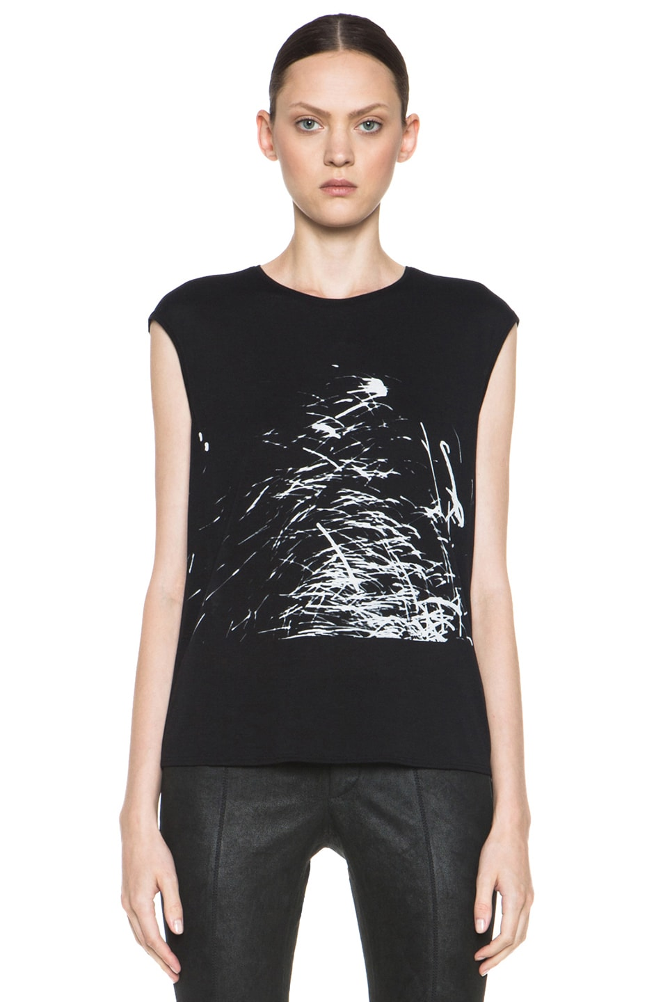 Image 1 of HELMUT Helmut Lang Spark Print Muscle Tee in Black