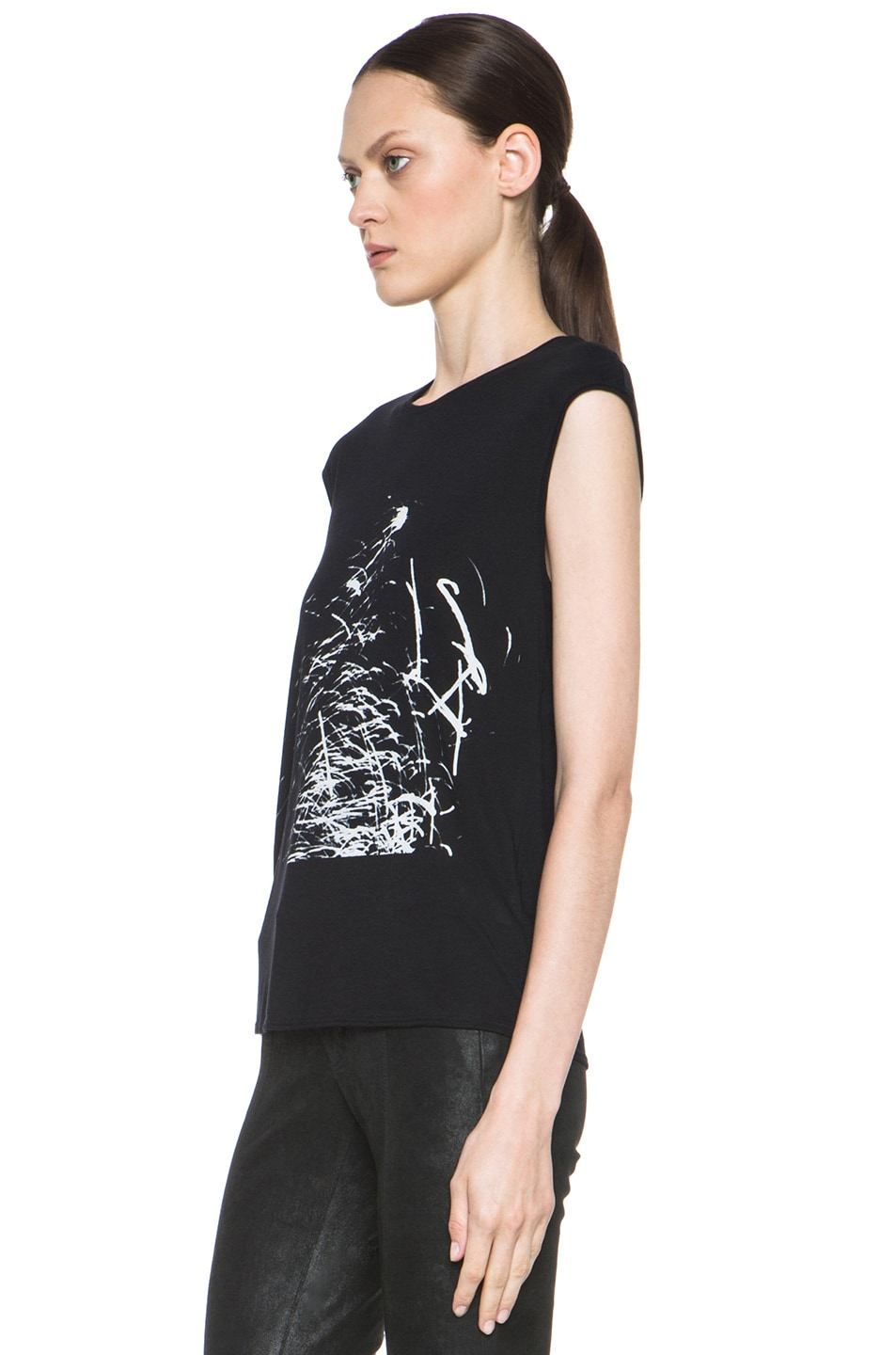 Image 2 of HELMUT Helmut Lang Spark Print Muscle Tee in Black
