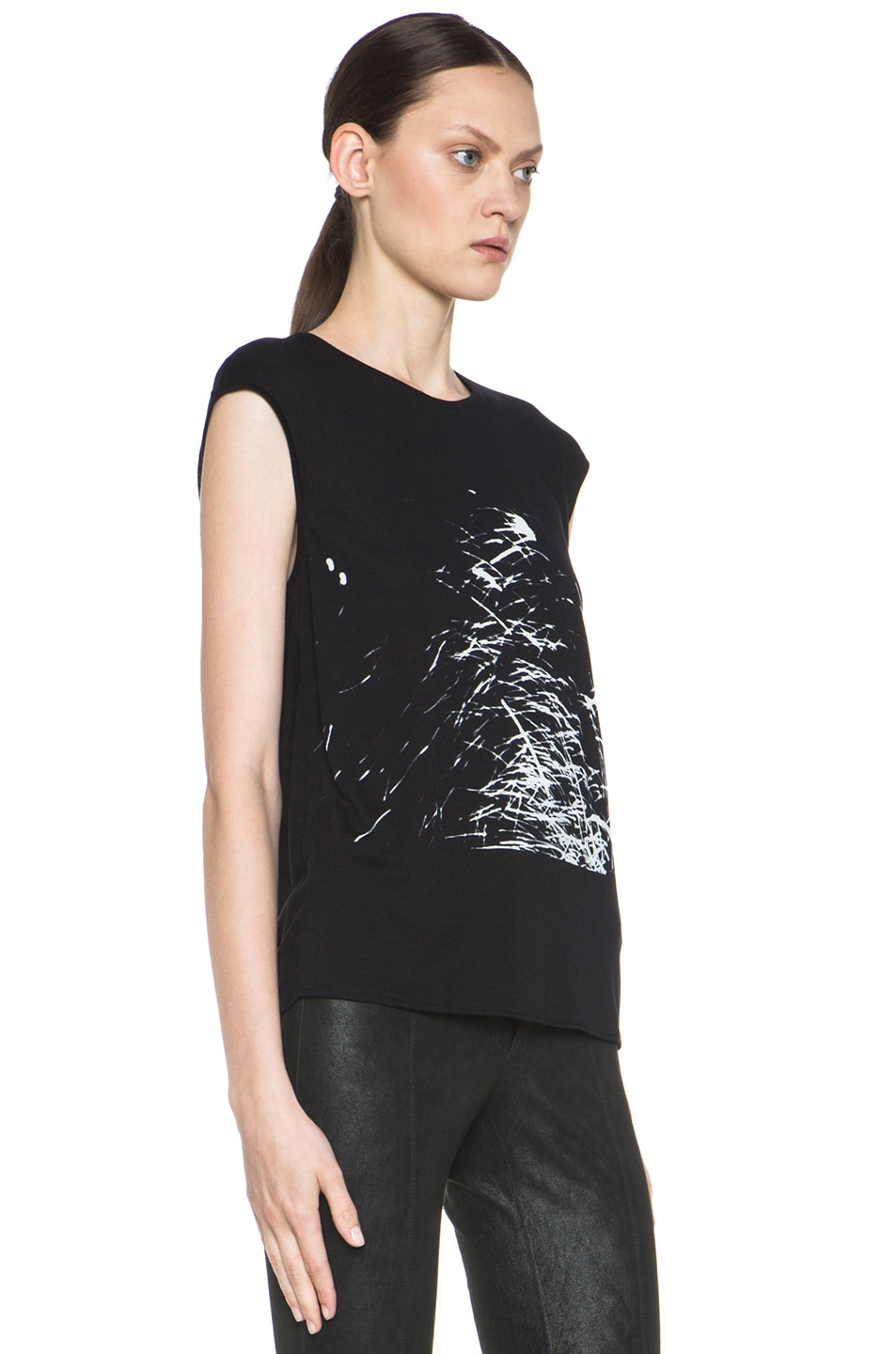 Image 3 of HELMUT Helmut Lang Spark Print Muscle Tee in Black