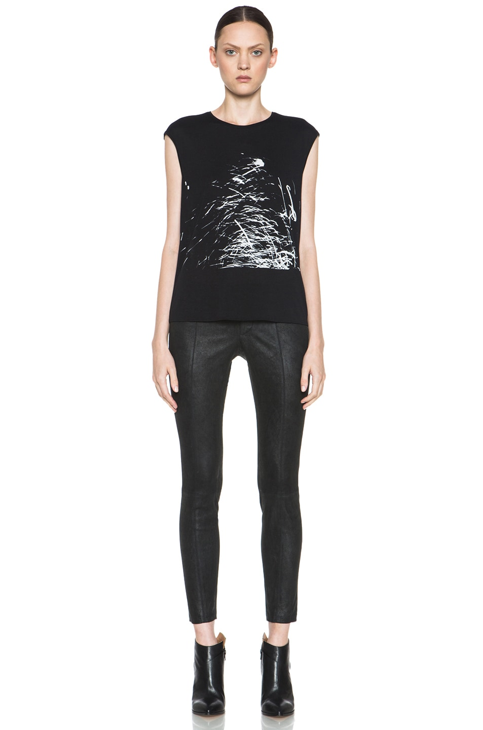 Image 5 of HELMUT Helmut Lang Spark Print Muscle Tee in Black