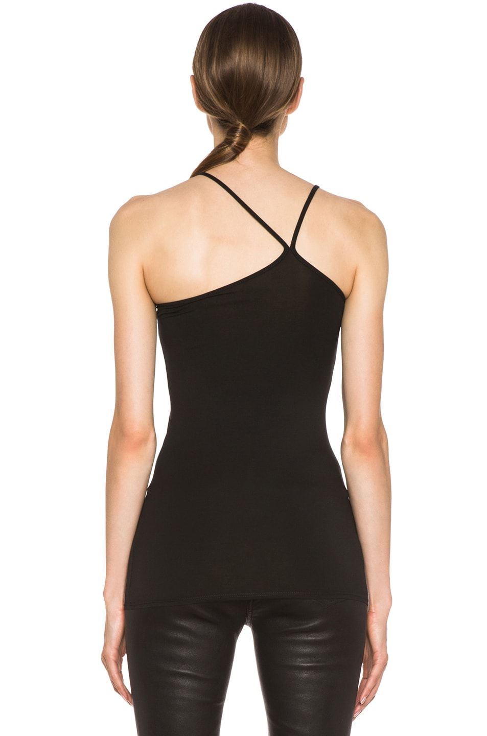 Image 4 of Helmut Lang Asymmetric Micro-Blend Tank in Black