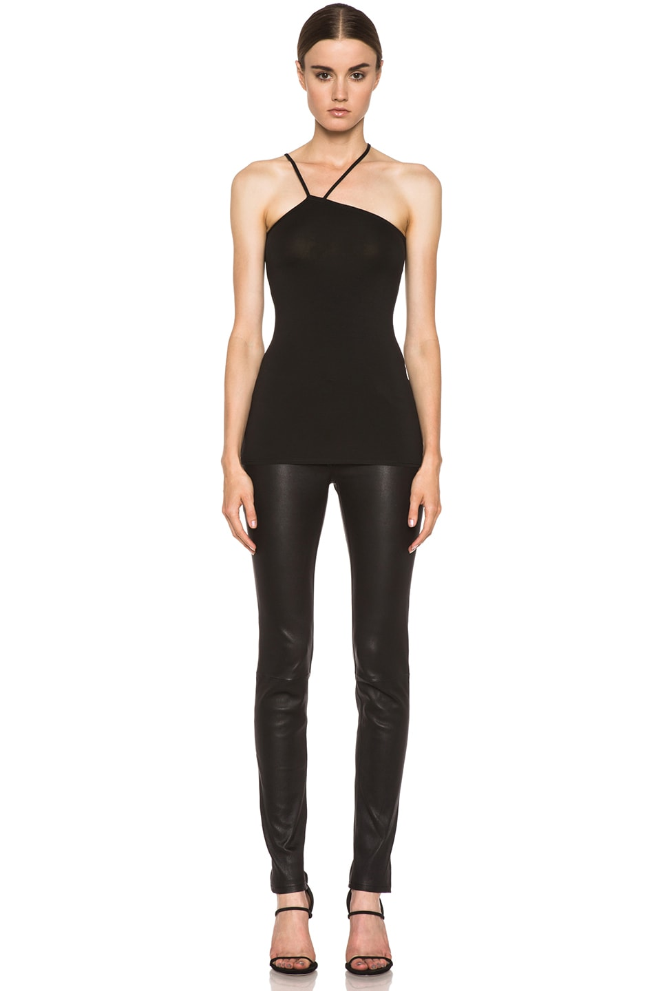 Image 5 of Helmut Lang Asymmetric Micro-Blend Tank in Black