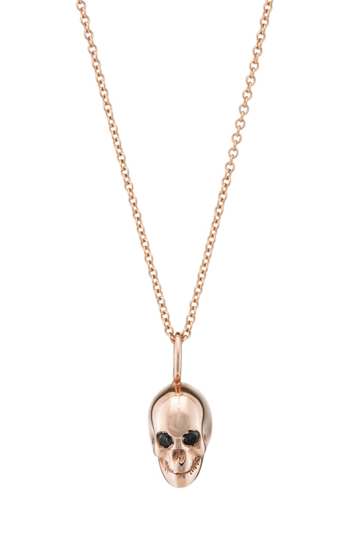 Image 1 of Ileana Makri Gold Skull Necklace in Rose Gold