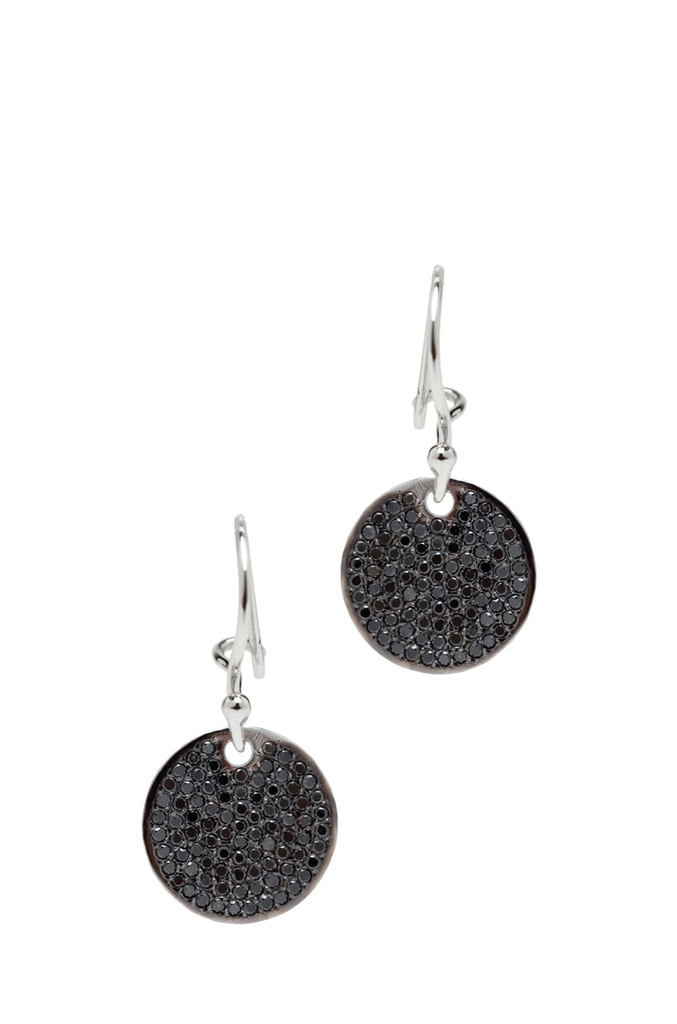 Image 1 of Ileana Makri Diamond Disc White Gold Earrings in Black Oxidized