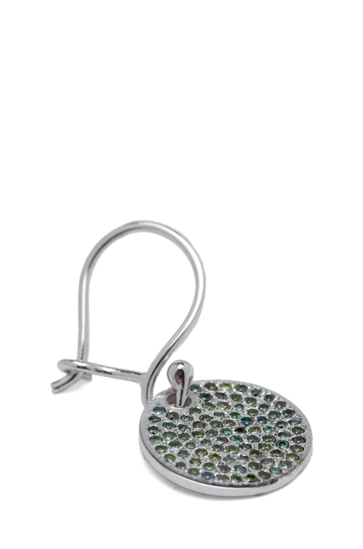 Image 2 of Ileana Makri Diamond Disc White Gold Earrings in Green Oxidized