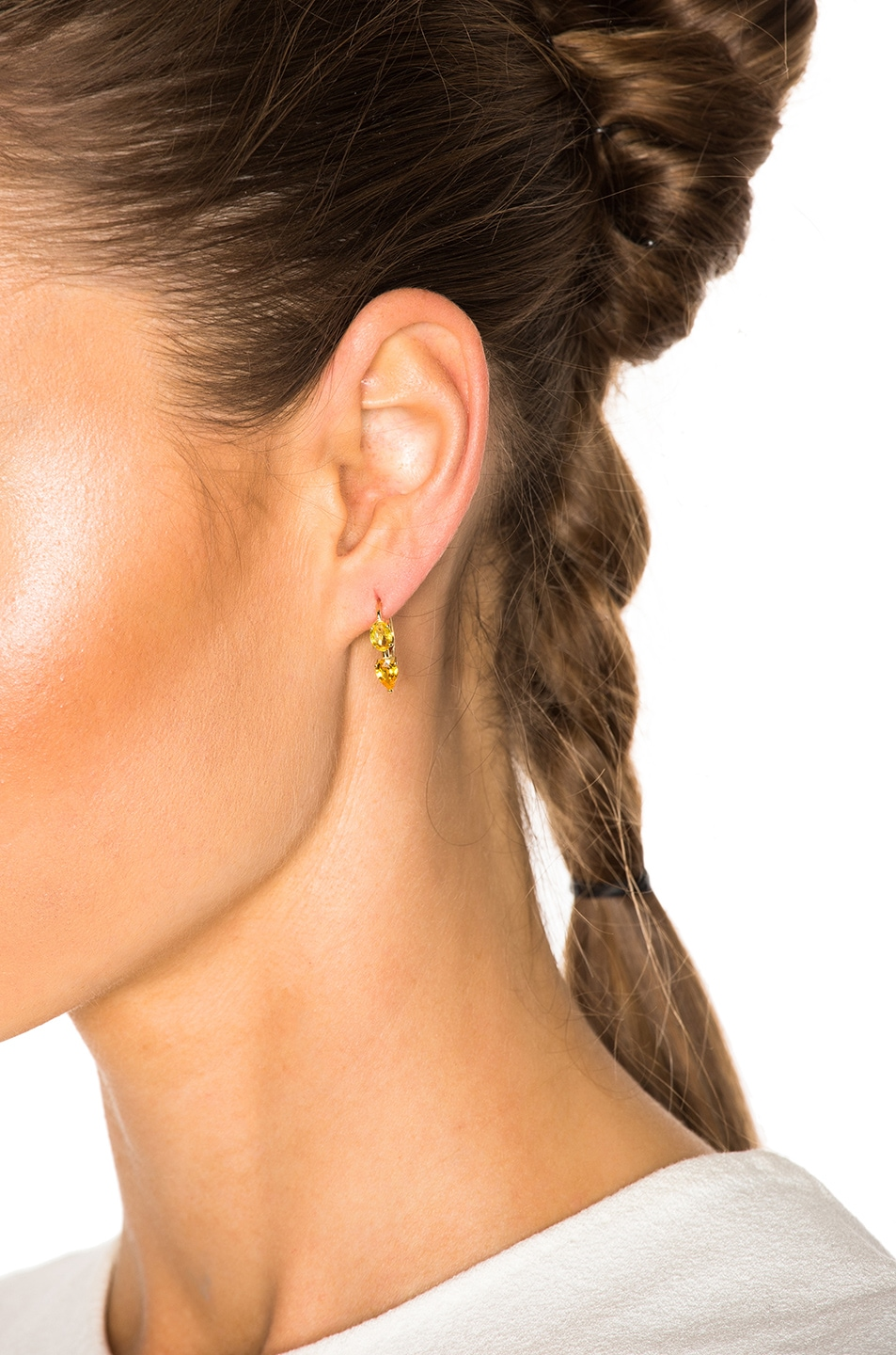 Image 4 of Ileana Makri Oval & Pear Earrings in Yellow Gold