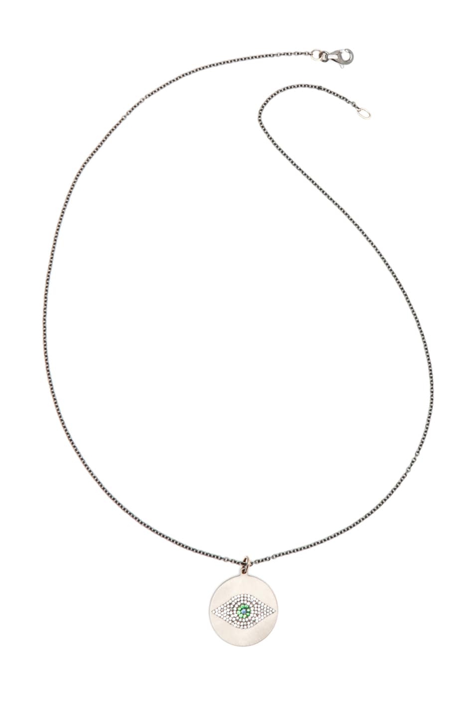 Image 3 of Ileana Makri Evil Eye Tsavorites Necklace in Rose Gold & Titan