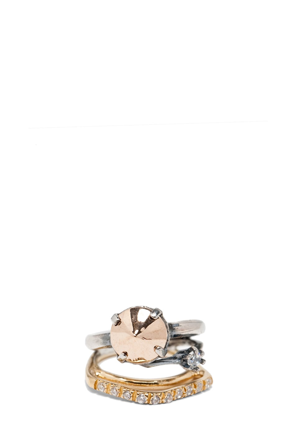 Image 1 of Iosselliani Mixed Set of Rings in Silver & Gold