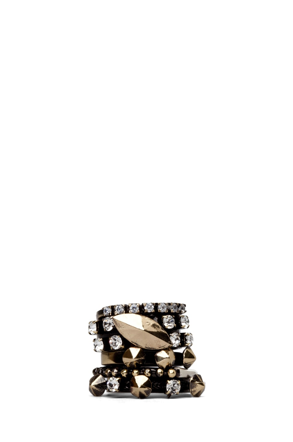 Image 1 of Iosselliani Set of 5 Rings with Swarovski Stones in Diamond