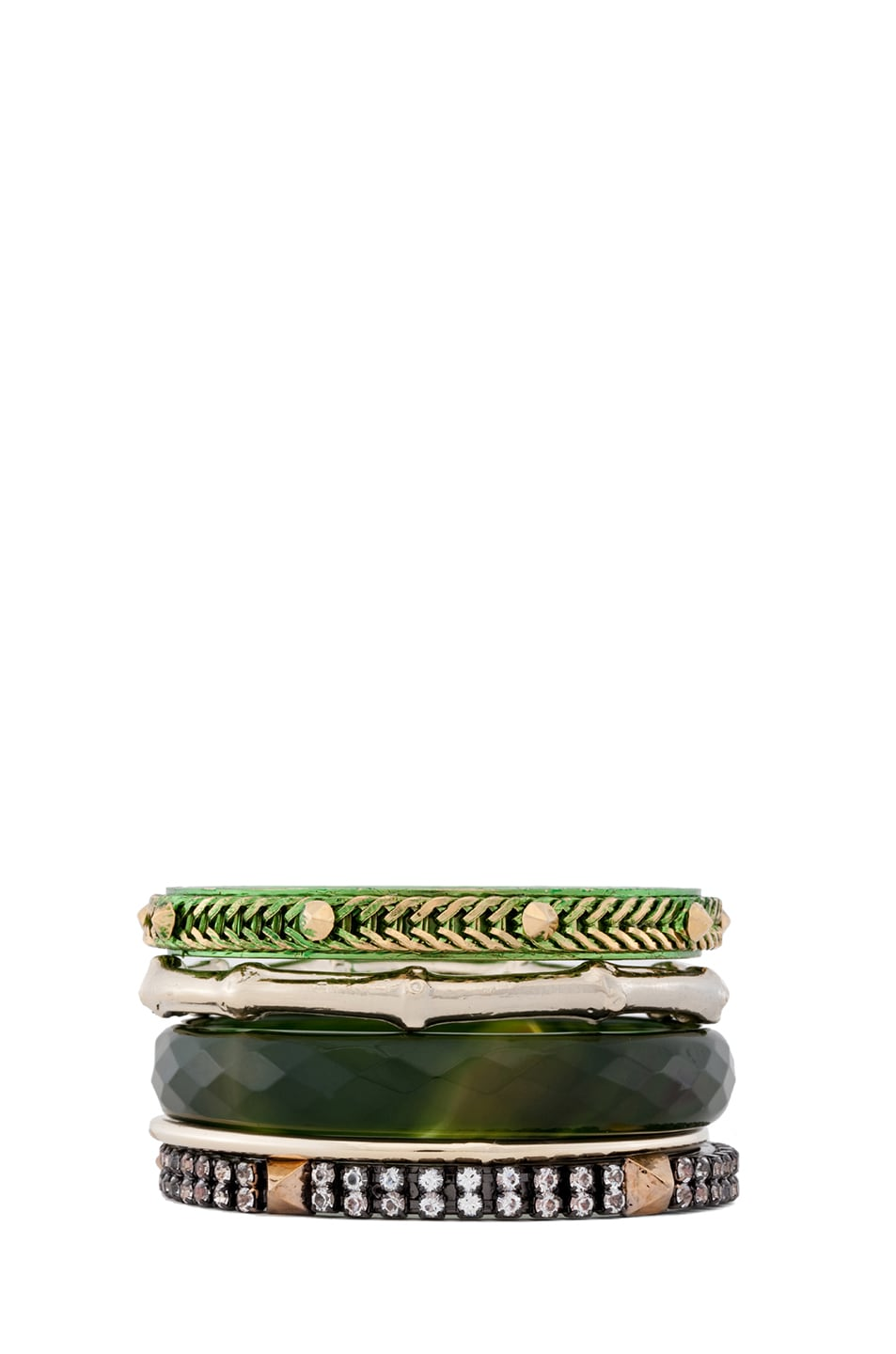 Image 1 of Iosselliani Faceted Agate Bangle Set of 5 in Green