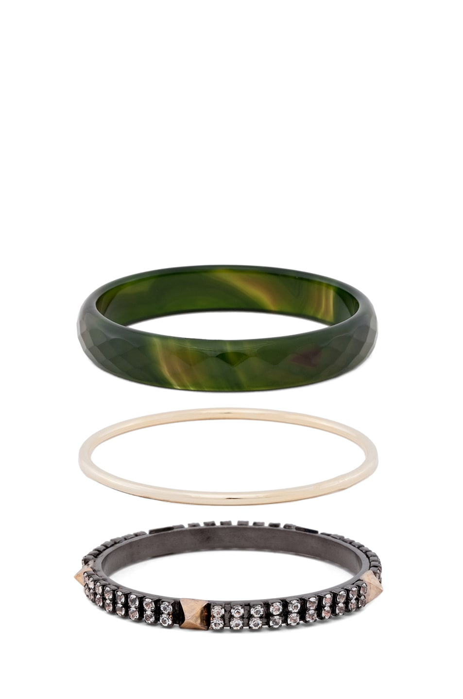 Image 2 of Iosselliani Faceted Agate Bangle Set of 5 in Green