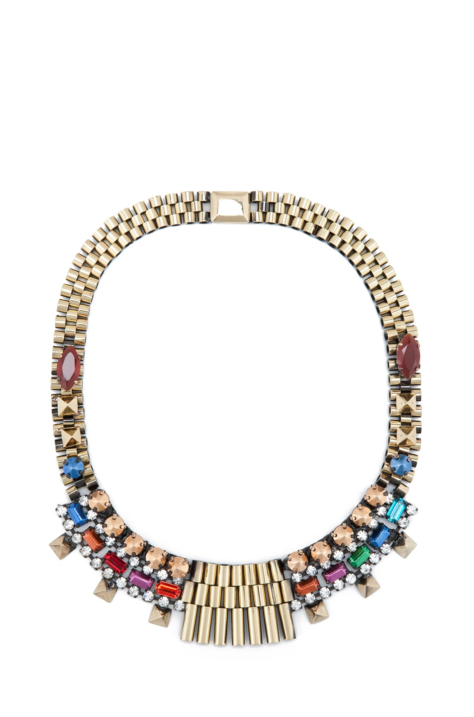 Image 1 of Iosselliani Rolex Chain Bib Stud Necklace in Multi