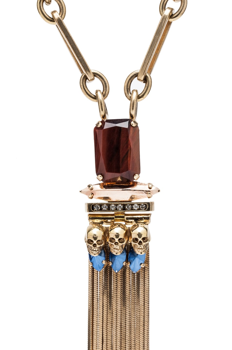 Image 2 of Iosselliani Medium Navettes Antique Brass Necklace in Blue