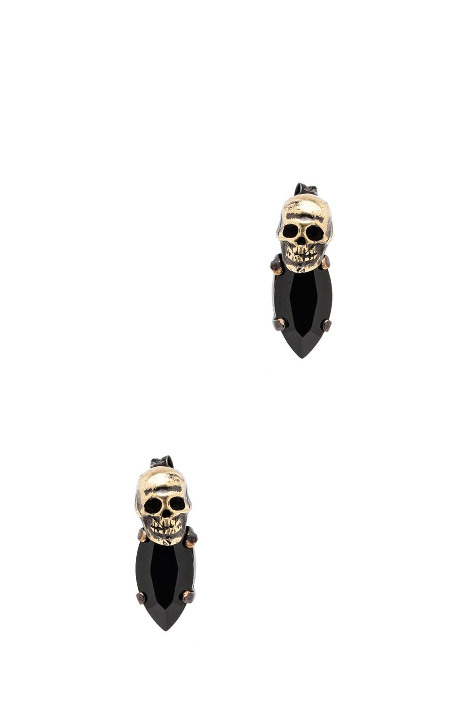 Image 1 of Iosselliani Rhinestone Antique Brass Earrings in Black