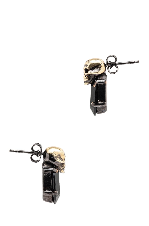 Image 2 of Iosselliani Rhinestone Antique Brass Earrings in Black